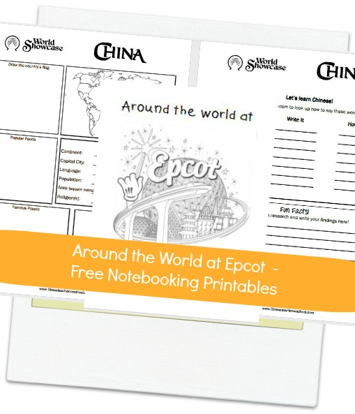 Around the World at Epcot – Cover page and China notebooking printables