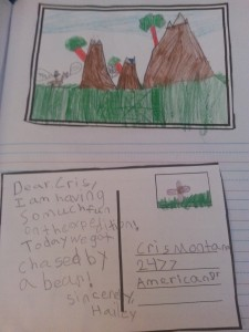 postcards from the Lewis & Clark expedition created by 2nd graders